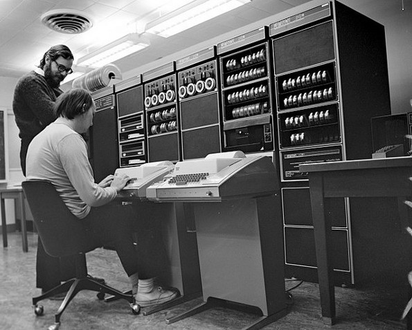 Dennis Ritchie and Ken Thompson working with UNIX PDP11
